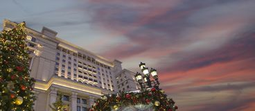 Christmas And New Year Holidays Illumination And Four Seasons Hotel Moscow At Night. Russia Royalty Free Stock Photography