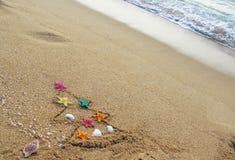 Christmas And New Year On The Beach Stock Photos
