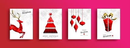 Christmas And New Year Red Low Poly Card Set Stock Image