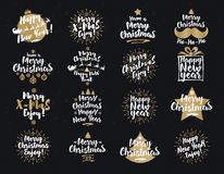 Christmas And New Year`s Signs Set White Gold Color On Black Background Stock Image