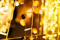 Free Christmas And New Year Street Light Decoration Bokeh Royalty Free Stock Photography - 132492517