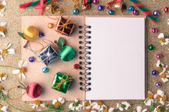 Free Christmas And New Year Wooden Background Banner With Blank Notebook , Gift Box, Daisy Flower, Candy Ball And Decoration On Vintage Royalty Free Stock Image - 92115576