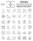 Christmas And Winter Line Icons Set In Single Color. Royalty Free Stock Image