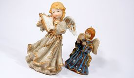 Christmas angel 02. Two ceramic christmas angels on a white background Stock Photo