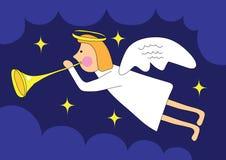 Christmas angel. Illustration of christmas angel over dark night sky, cartoon Stock Photos