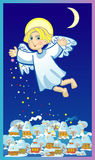 Christmas angel. Over a small town scatters stars Stock Photos