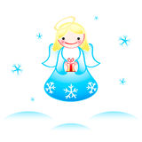 Christmas angel. Flying Christmas angel with dancing snowflakes Stock Images