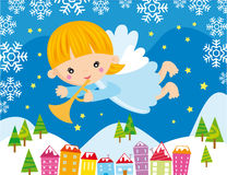 Christmas angel. Illustration of little angel playing a trumpet at christmas night stock illustration