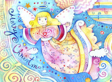 Christmas Angel. Watercolor illustration with Christmas angel and bright colors stock illustration