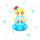 Christmas angel. Flying cute Christmas angel with the special gift Stock Photos