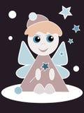 Christmas Angel. On dark background doing magic stars and snowflakes Stock Illustration