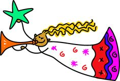 Christmas angel. Blowing the trumpet and holding the star drawn in toddler art style Royalty Free Stock Images