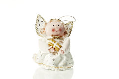 Christmas angel. One christmas angel figurine  on white background Stock Image