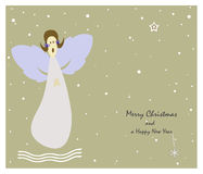 Christmas angel. Christmas greeting card with an angel who is singing Christmas carols Stock Photography
