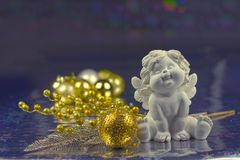 Christmas Angel. Decorations  gold blue Royalty Free Stock Images