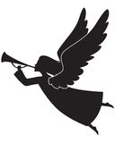 Christmas angel. A silhouette of a Christmas Angel Blowing a trumpet Royalty Free Stock Photos