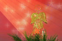 Christmas Angel. Angel atop the Xmas tree. Useful greeting card image Royalty Free Stock Photos