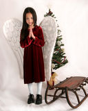 Christmas Angel. Young girl dressed in angel wings in front of a Christmas tree and an antique snow sled Stock Image