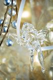 Christmas angel. Crystal christmas ornament - angel with horn Stock Photography