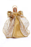 Christmas angel. With golden dress on white background Stock Image