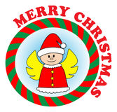 Christmas angel. Vector sticker: christmas angel in red Santa hat. You can change colors as you wish Royalty Free Stock Images