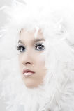 Christmas Angel. Girl with beautiful make up and white feathers Royalty Free Stock Photography