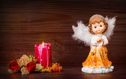 Christmas Angel And Candle Royalty Free Stock Images