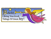 Christmas Angel Behold. Christmas bible verse with angel and trumpet announcing ... Behold, I Bring You Good tidings Of Great Joy Royalty Free Stock Images