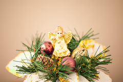 Christmas angel on beige Stock Image