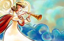 Christmas Angel. Blowing a trumpet announcing the birth of Jesus. Room for text on the right stock illustration