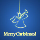 Christmas angel on blue background Stock Photo