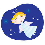Christmas angel boy. Cute christmas angel – symbol of love and christianity. Vector Illustration royalty free illustration