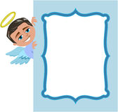 Christmas Angel Boy Frame. Illustration featuring Bob xmas angel show behind blue photo frame isolated on white background. Eps file is available. You can find Stock Photo