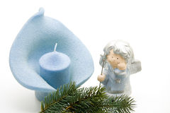 Christmas angel with candle Royalty Free Stock Photo