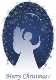 Christmas angel with a candle. Greeting card Royalty Free Stock Photography