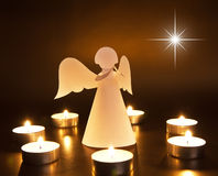 Christmas angel with candles Royalty Free Stock Images