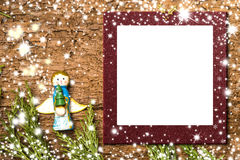 Christmas Angel card.Photo frame. royalty free stock photography