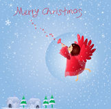 Christmas angel. Cute little angel playing a trumpet Royalty Free Stock Images