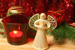 Christmas angel and decoration Royalty Free Stock Images