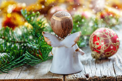 Christmas angel and fir branch with toys. Royalty Free Stock Photos
