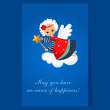 Christmas Angel Flying with a Magic Wand. Winter Royalty Free Stock Images