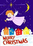 Christmas angel flying over the city. Vector Royalty Free Stock Photography