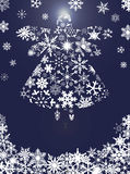 Christmas Angel Flying with Snowflakes. Design Blue Background Illustration Royalty Free Stock Photos