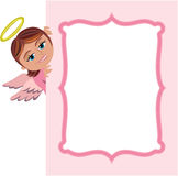 Christmas Angel Girl Frame. Illustration featuring Meg xmas angel show behind pink photo frame isolated on white background. Eps file is available. You can find Stock Image
