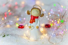 Christmas angel with glitter background. Xmas, light, winter stock photos