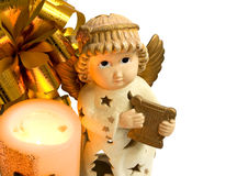 Christmas angel with gold wings and harp, candle 1 Stock Photo
