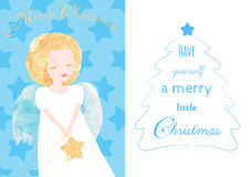 Christmas Angel greeting card. Cute little Angel with golden hair and a Star. Lettering about the Christmas. Watercolor textures, original vector illustration Stock Image