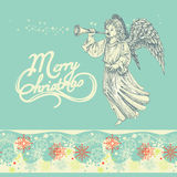 Christmas angel greeting card Royalty Free Stock Photo