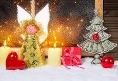 Christmas Angel, Heart, Christmas tree, gift. Christmas Angel with Heart, Christmas tree and gift Royalty Free Stock Images