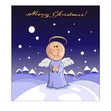 Christmas angel with houses and snow on background. stock illustration